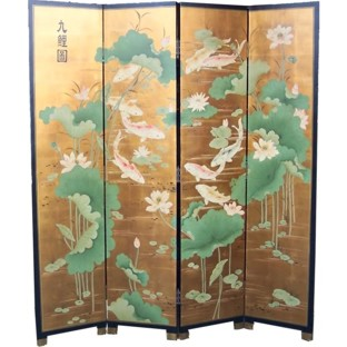 The Gold Koi Fish Room Divider Screen