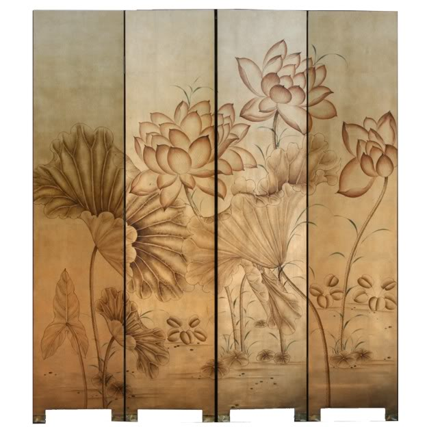 Golden Lotus Four Panel Room Divider Screen