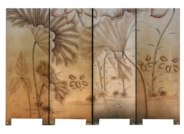 Golden Lotus Four Panel Room Divider Screen -  Part 5