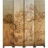 Lotus Flower on Gold Room Divider Screen
