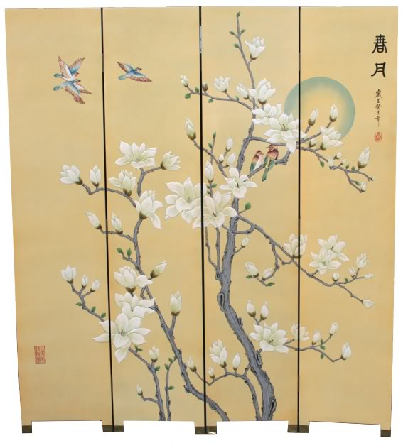 Chinese Spring Moon Blossom Room Divider Screen