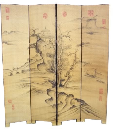 Chinese Mountains Senary Room Divider Screen