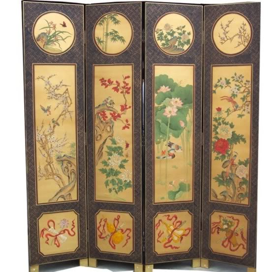 Chinese Four Seasons Plant Room Divider Screen