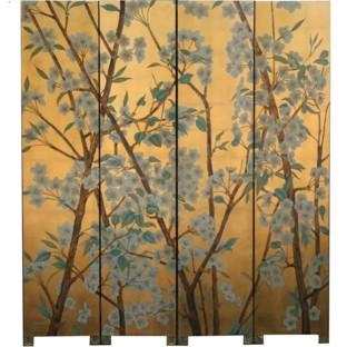 Wild Flower Room Divider Screen-Gold Leaf Background