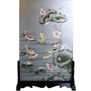 Chinese Room Divider Screen on Stand - Koi Fish