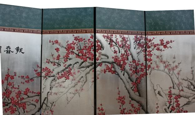 Cherry Blossom Silver Leaf Room Divider Screen - Detail 4