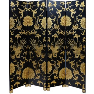 Chinese Black and Gold Phoenix Room Divider Screen