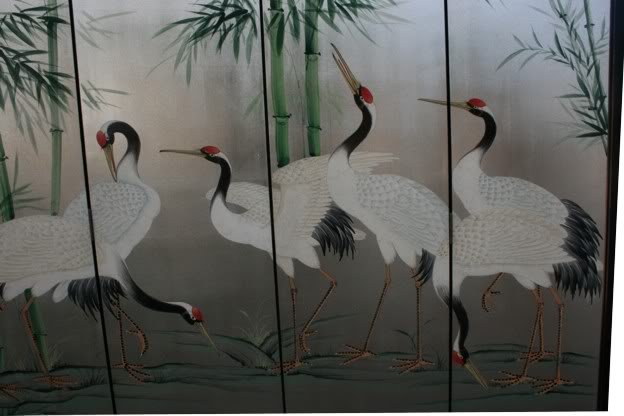 Crane and Bamboo Tranquility Room Divider Screen  - detail 4