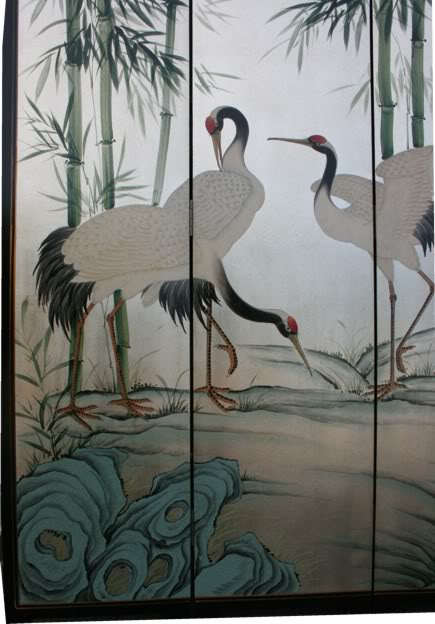 Crane and Bamboo Tranquility Room Divider Screen  - detail 3