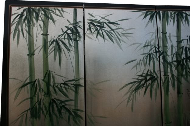Crane and Bamboo Tranquility Room Divider Screen  - detail