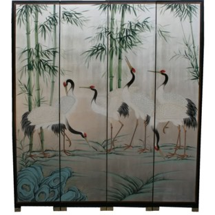 Crane and Bamboo Tranquility Room Divider Screen