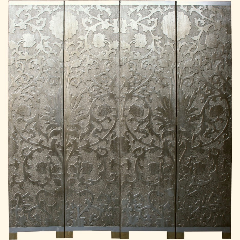 French Coromandel Silver Room Divider Screen - Sun Flowers