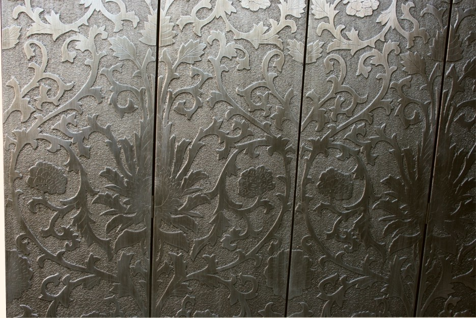 French Coromandel Silver Room Divider Screen - Sun Flowers Detail