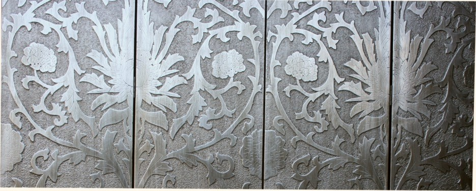 French Coromandel Silver Room Divider Screen - Sun Flowers Detail 3