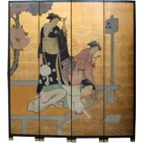 Japanese Ladies in Kimono Room Divider Screen