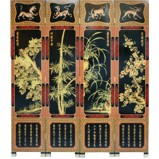 Chinese Red 4-Plant Room Divider Screen