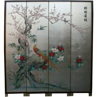 Chinese Prospect Room Divider Screen -Silver Leaf