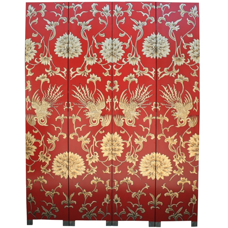New-Quality-Red-Room-Divider-Screen-Embossed-Phoenix-SN4-RPHOENIX
