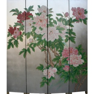 The Peony Flower Room Divider Screen - Silver Leaf