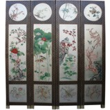 Chinese Four Seasons Room Divider Screen-Silver Leaf
