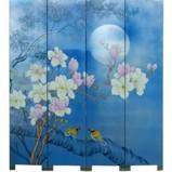 Magnolia Blossom on Blue Room Divider Screen