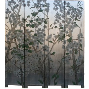Pear Blossom Room Divider Screen -Silver Leaf Background