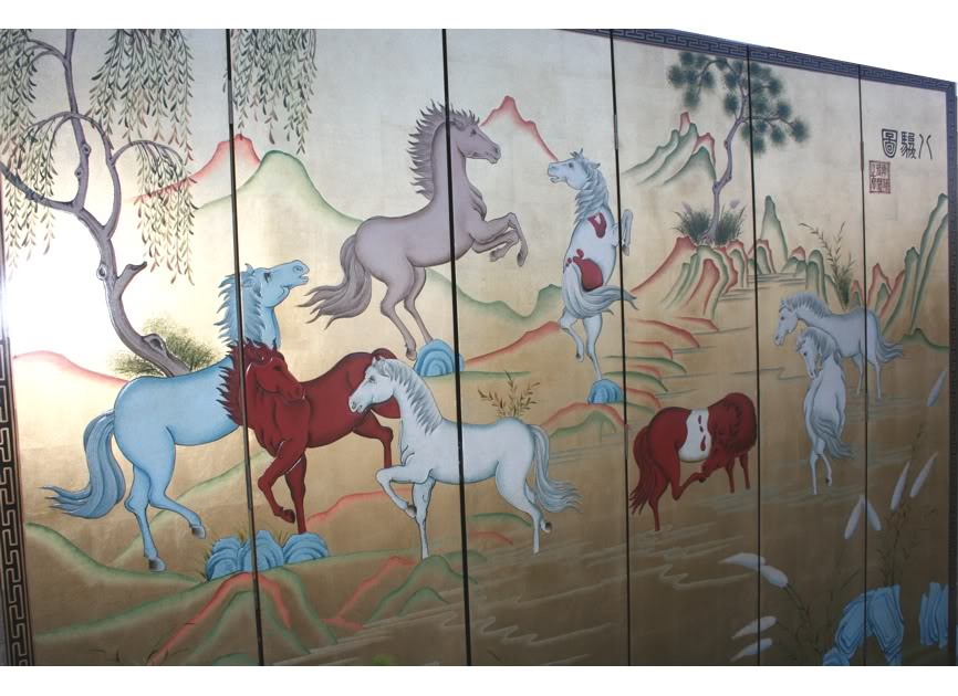 Eight Horses Screen/Room Divider -Detail 1