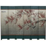 Silver Leaf 6-Panel Cherry Blossom Room Divider Screen