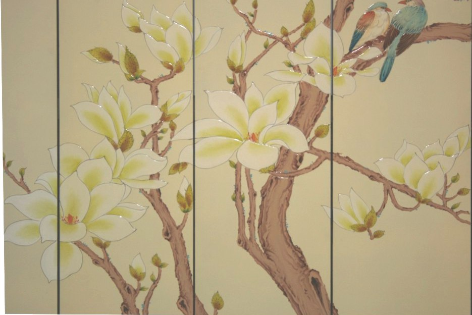 Chinese Magnolia Beige Room Divider Screen - Moon in Spring Detail