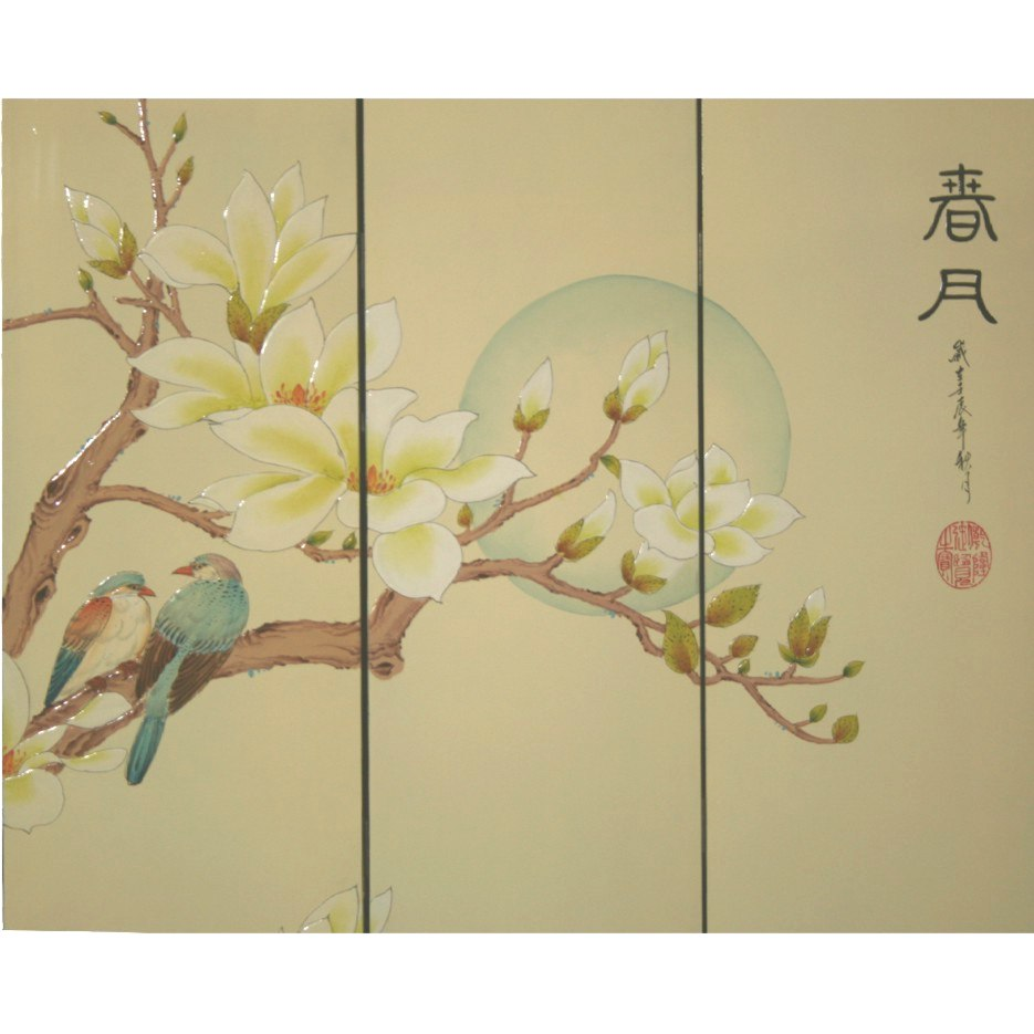 Chinese Magnolia Beige Room Divider Screen - Moon in Spring Detail 2