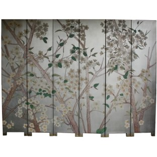 6-Panel Silver Leaf Panel White Flower Room Divider