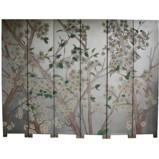 Grand Silver Leaf Panel White Flower Room Divider