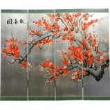 Cherry Blossom 4-Panel Wall Hanging Screen-Silver Leaf