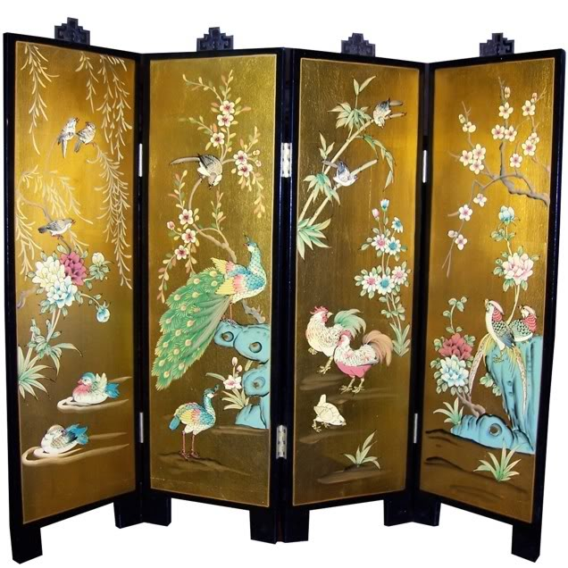 Golden Peacock Four Panel Wall Hanging Screen
