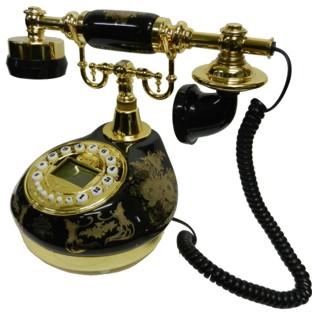 Antique Style Black Porcelain Telephone