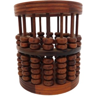 Chinese Wood Abacus Bead Round Statue