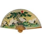 Large Crane Bamboo Wall Hanging Fan