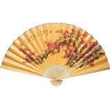Oriental Painted Bamboo Wall Hanging Fan