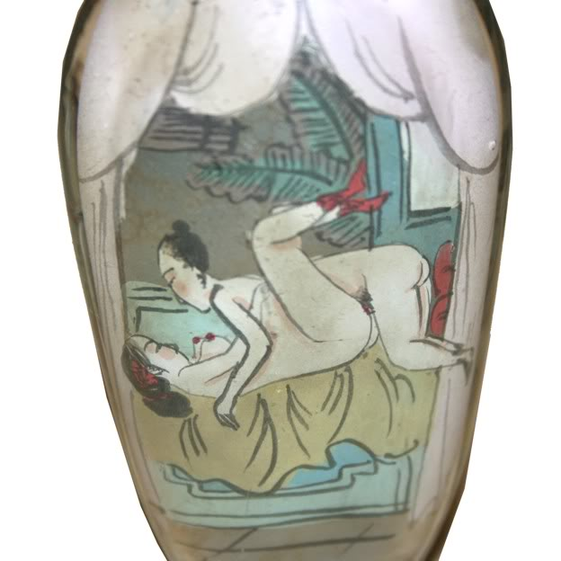 CHINESE SEX EDUCATION GLASS SNUFF BOTTLE SET -Detail