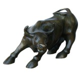 Wall Street Charging Bull Ox Brass 26cm