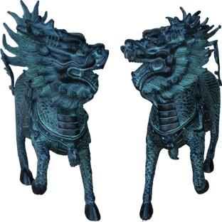 A pair of Large Bronze Qi Lin Replica