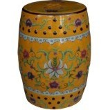 Chinese Porcelain Garden Stool Flora Imperial Yellow