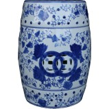 Ceramic Blue and White Drum Stool