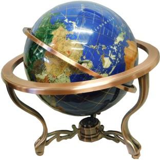330mm Blue World Gemstone Globe with Compass