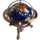 330mm Blue World Gemstone Globe with Compass