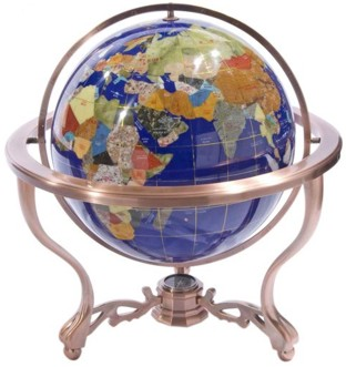 Blue World Gemstone Globe with Compass and Tripod Stand