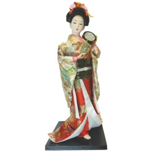 Japanese Kimono Geisha Doll - Drum Playing