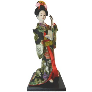 Japanese Kimono Geisha Doll - Shamisen Playing