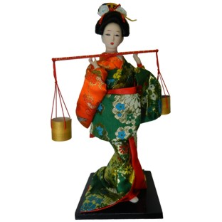 Japanese Kimono Geisha Doll - Carrying Barrel