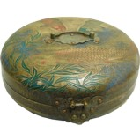 Vintage Brass Round Box with Carvings